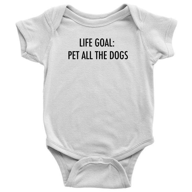 Life Goal: Pet All The Dogs Baby Onesie-White-Woofingtons