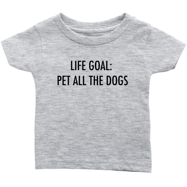 Life Goal: Pet All The Dogs Baby Tee-Heather Grey-Woofingtons