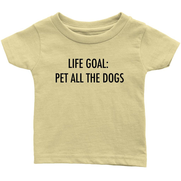 Life Goal: Pet All The Dogs Baby Tee-Lemon-Woofingtons