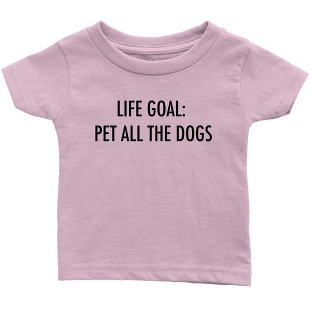Life Goal: Pet All The Dogs Baby Tee-Light Pink-Woofingtons