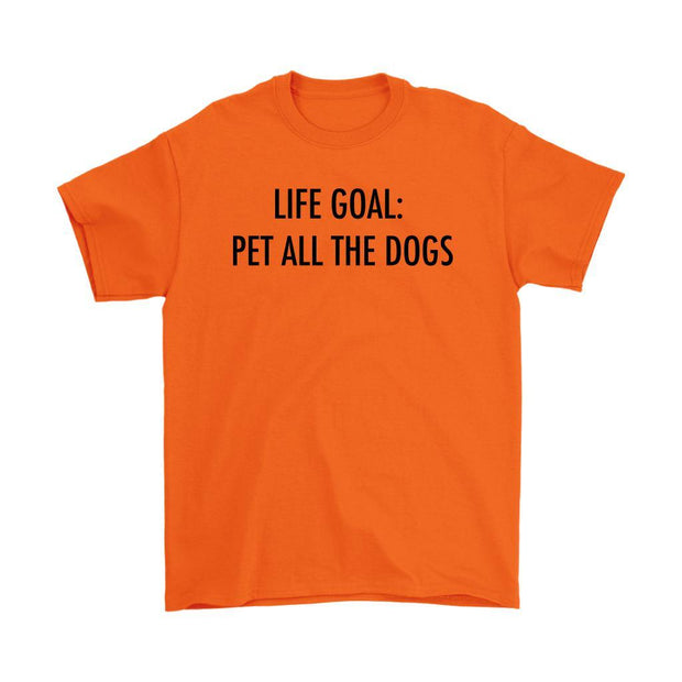 Life Goal: Pet All The Dogs Mens Tee-Orange-Woofingtons
