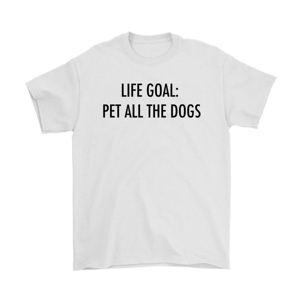 Life Goal: Pet All The Dogs Mens Tee-White-Woofingtons