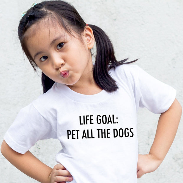 Life Goal: Pet All The Dogs Toddler Tee White Woofingtons