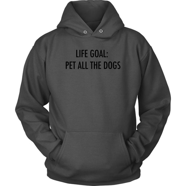 Life Goal: Pet All The Dogs Unisex Hoodie-Charcoal-Woofingtons