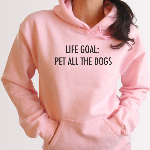 Life Goal: Pet All The Dogs Unisex Hoodie Grey Woofingtons