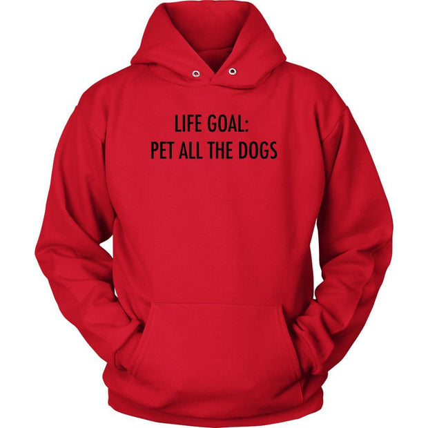 Life Goal: Pet All The Dogs Unisex Hoodie-Red-Woofingtons