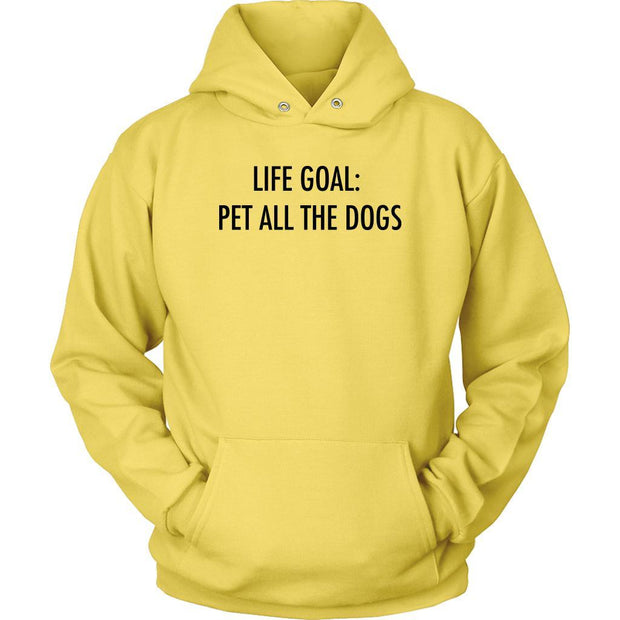 Life Goal: Pet All The Dogs Unisex Hoodie-Yellow-Woofingtons