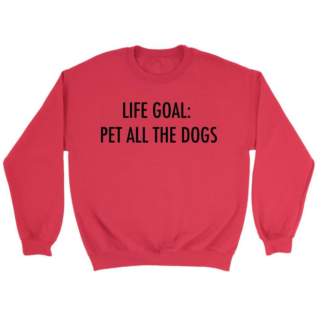Life Goal: Pet All The Dogs Unisex Sweatshirt-Red-Woofingtons