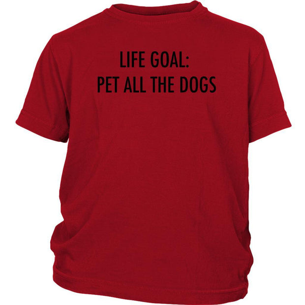 Life Goal: Pet All The Dogs Kids Tee-Red-Woofingtons