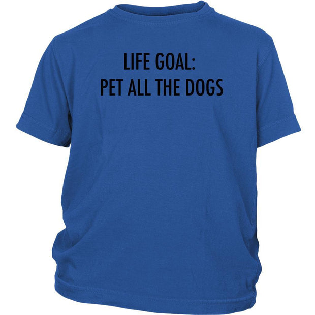 Life Goal: Pet All The Dogs Kids Tee-Royal Blue-Woofingtons