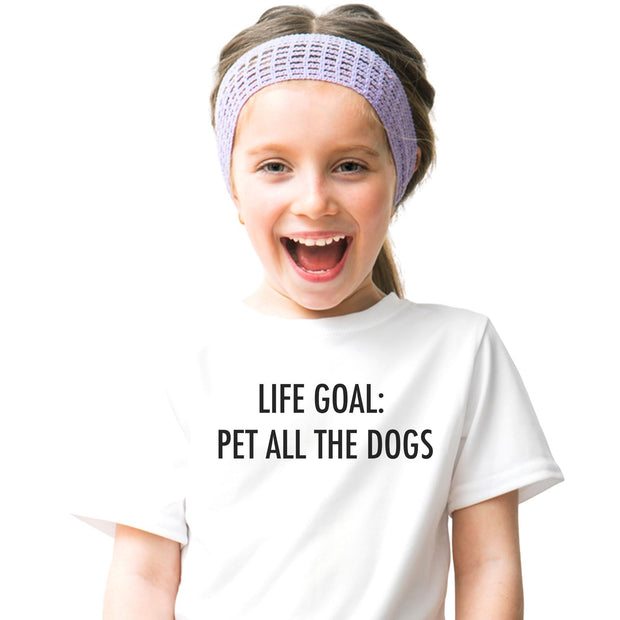 Life Goal: Pet All The Dogs Youth Tee White Woofingtons