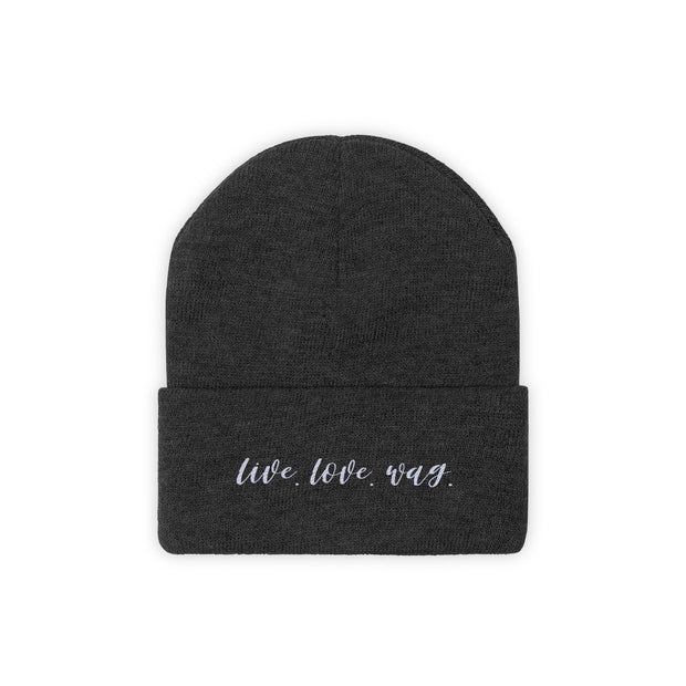 Live Love Wag Knit Beanie-Apparel-Black-Woofingtons