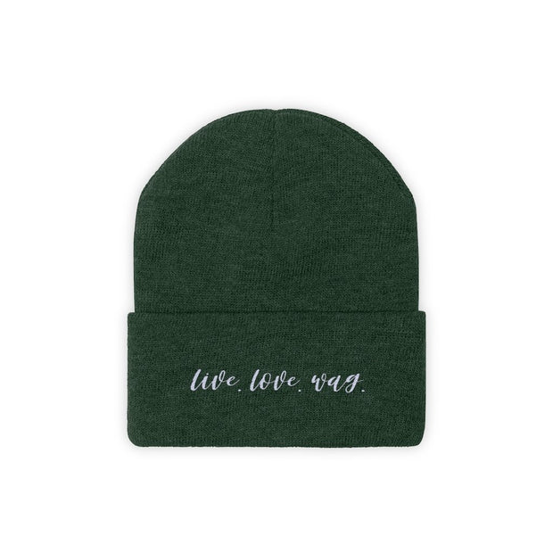 Live Love Wag Knit Beanie-Apparel-Forest Green-Woofingtons