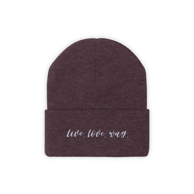 Live Love Wag Knit Beanie-Apparel-Maroon-Woofingtons