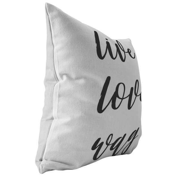 Live Love Wag Throw Pillow Stuffed & Sewn Woofingtons