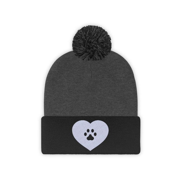 Love Heart Paw Print Pom Pom Beanie-Apparel-Black/Graphite Heather-Woofingtons