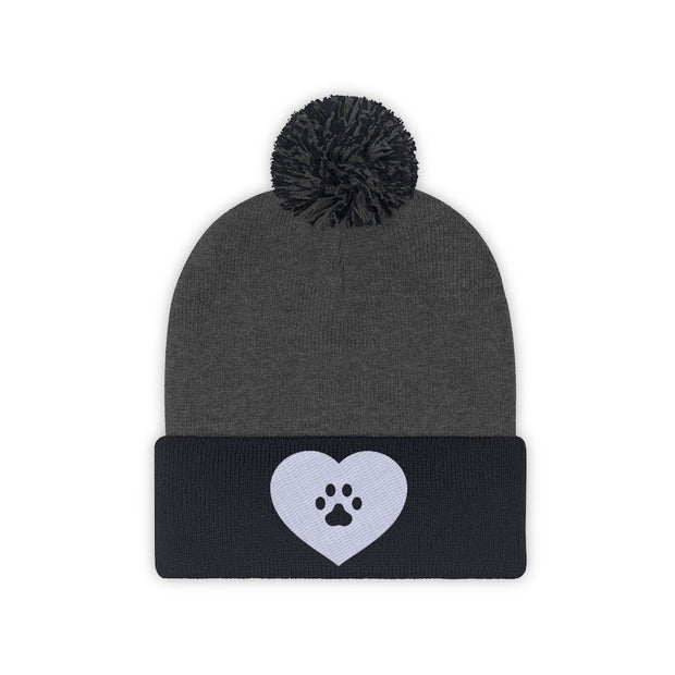 Love Heart Paw Print Pom Pom Beanie-Apparel-Navy/Graphite Heather-Woofingtons