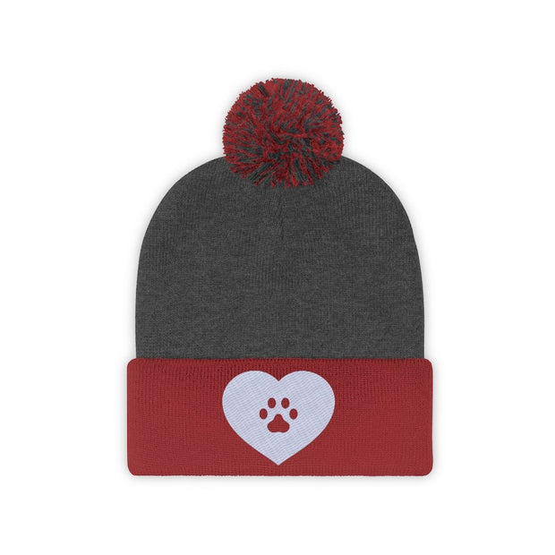 Love Heart Paw Print Pom Pom Beanie-Apparel-Red/Graphite Heather-Woofingtons