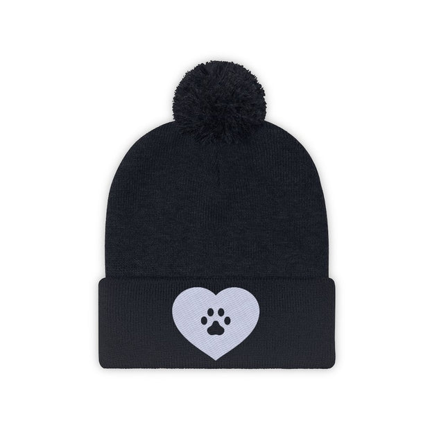 Love Heart Paw Print Pom Pom Beanie-Apparel-True Navy-Woofingtons