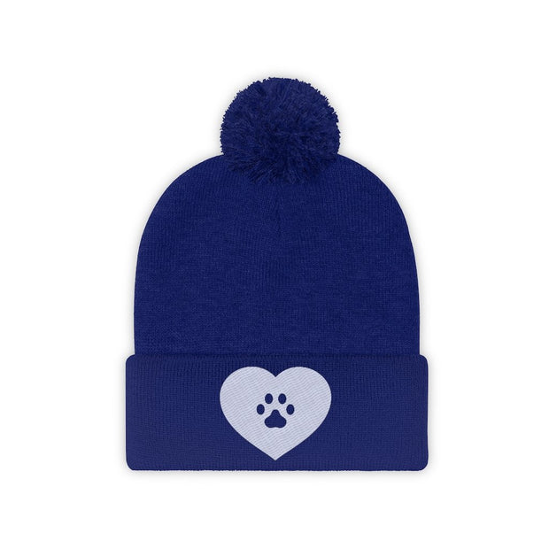 Love Heart Paw Print Pom Pom Beanie-Apparel-True Royal-Woofingtons