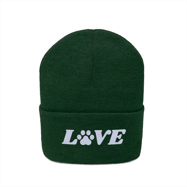 Love Paw Print Knit Beanie-Apparel-Forest Green-Woofingtons