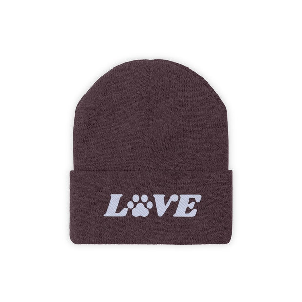 Love Paw Print Knit Beanie-Apparel-Maroon-Woofingtons