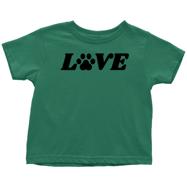 Love Paw Print Toddler Tee Toddler T-Shirt Woofingtons