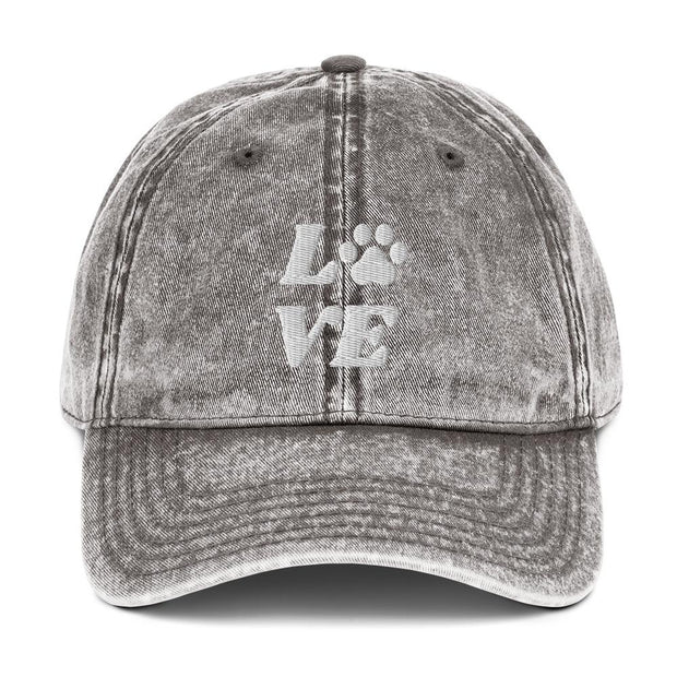 Love Paw Print Vintage Cotton Twill Cap-Apparel-Charcoal Grey-Woofingtons