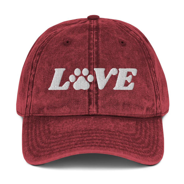 Love Paw Print Vintage Cotton Twill Cap-Apparel-Maroon-Woofingtons