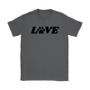 Love Paw Print Womens Tee Gildan Womens T-Shirt Woofingtons