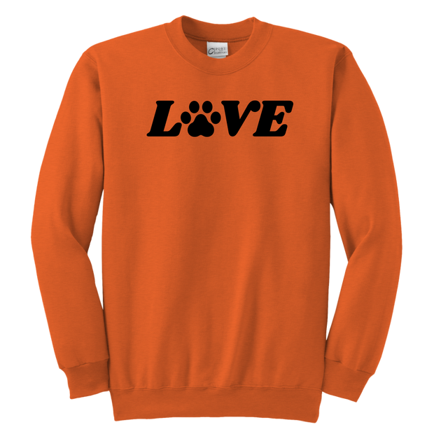 Love Paw Print Youth Sweatshirt Youth Crewneck Sweatshirt Woofingtons
