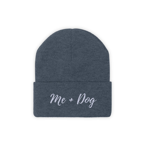 Me & Dog Knit Beanie-Apparel-Millennium Blue-Woofingtons