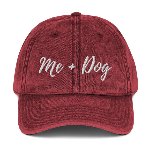 Me & Dog Vintage Cotton Twill Cap-Apparel-Maroon-Woofingtons