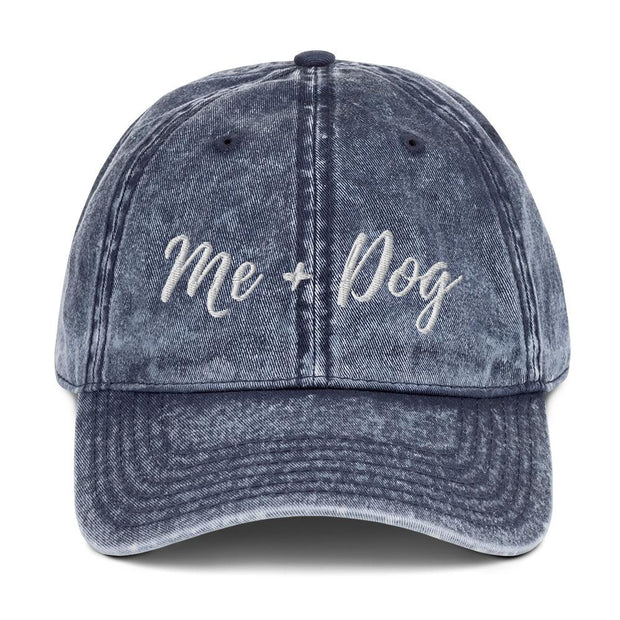 Me & Dog Vintage Cotton Twill Cap-Apparel-Navy-Woofingtons