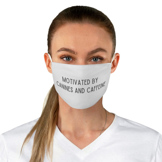 Motivated By Canines And Caffeine Fabric Face Mask-Apparel-One size-Woofingtons