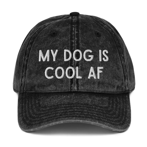 My Dog Is Cool AF Vintage Cotton Twill Cap-Apparel-Black-Woofingtons