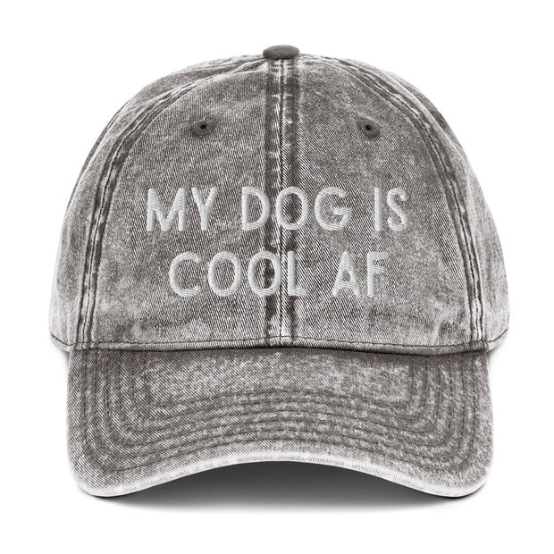 My Dog Is Cool AF Vintage Cotton Twill Cap-Apparel-Charcoal Grey-Woofingtons