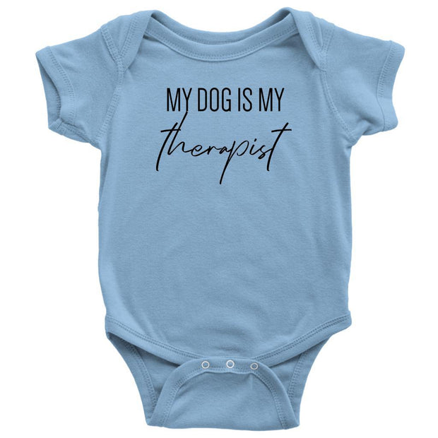 My Dog Is My Therapist Baby Onesie-Light Blue-Woofingtons