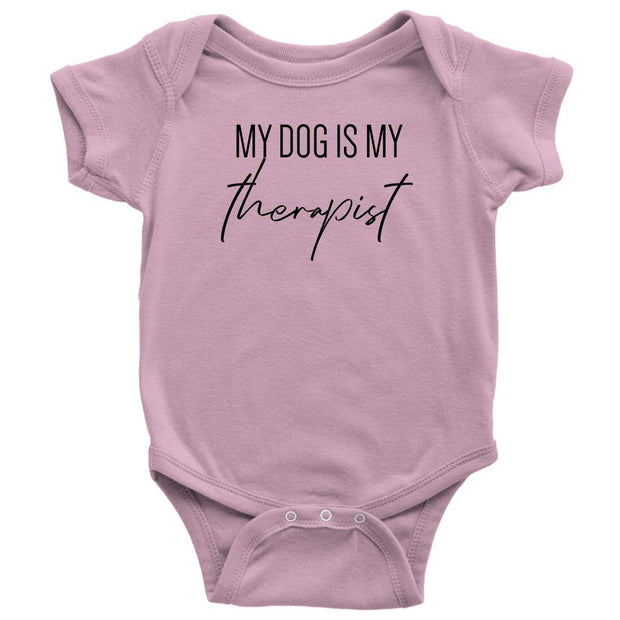 My Dog Is My Therapist Baby Onesie-Pink-Woofingtons