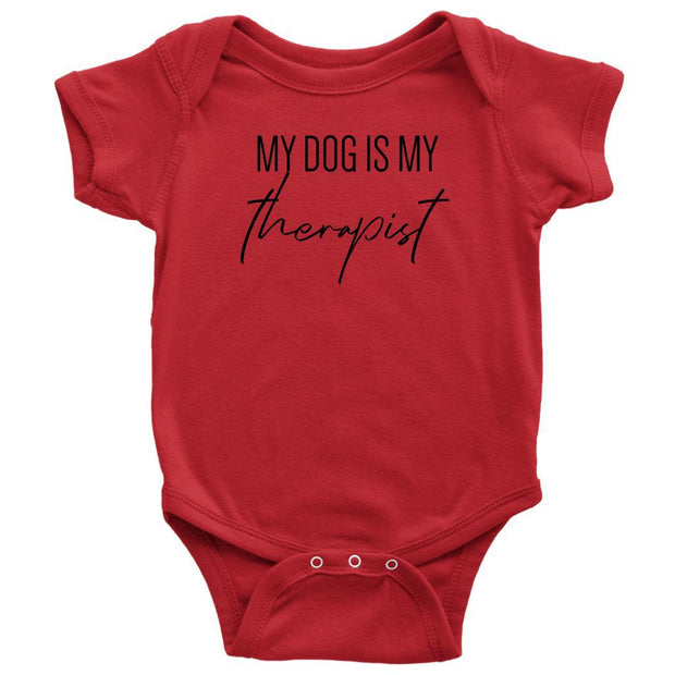 My Dog Is My Therapist Baby Onesie-Red-Woofingtons