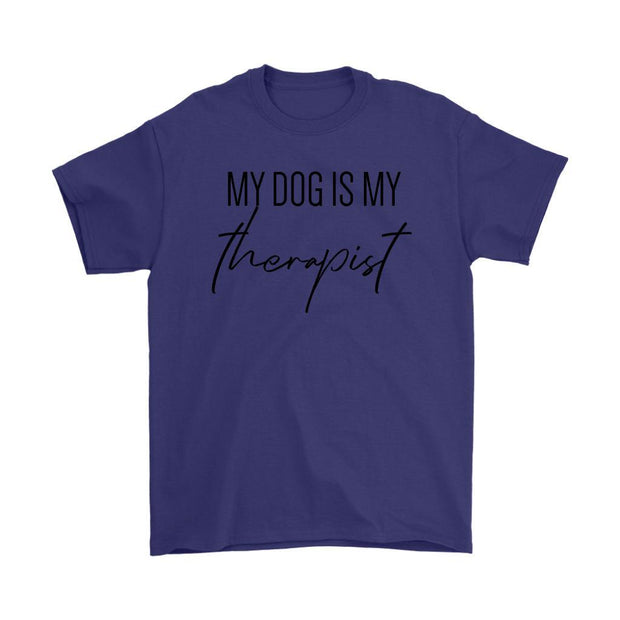 My Dog Is My Therapist Mens Tee-Purple-Woofingtons