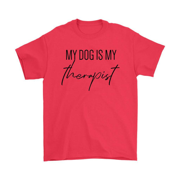 My Dog Is My Therapist Mens Tee-Red-Woofingtons