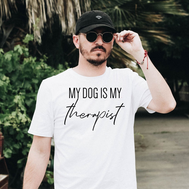 My Dog Is My Therapist Mens Tee White Woofingtons