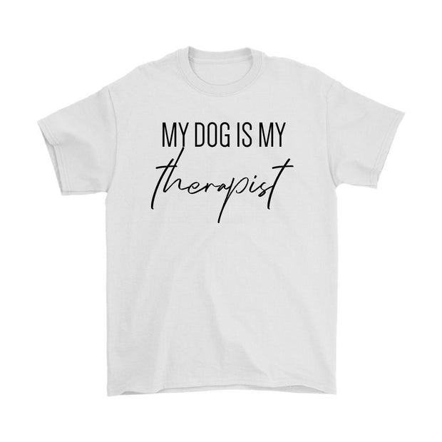 My Dog Is My Therapist Mens Tee-White-Woofingtons