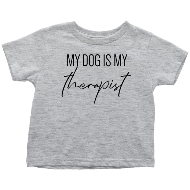 My Dog Is My Therapist Toddler Tees-Heather Grey-Woofingtons