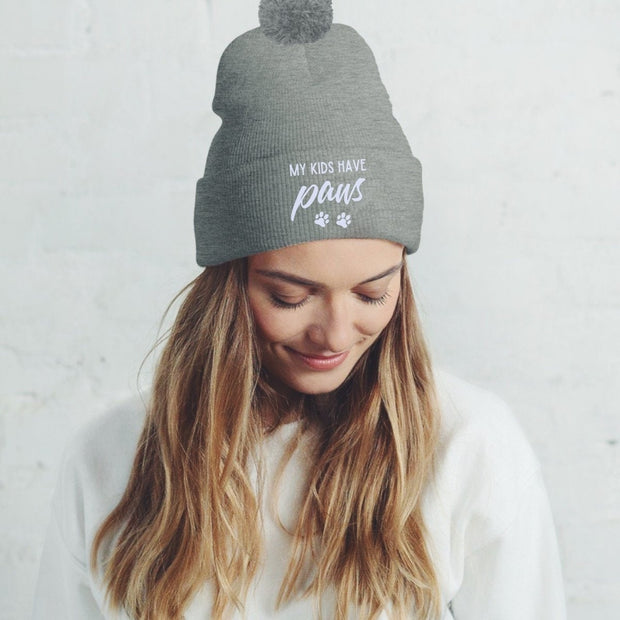 My Kids Have Paws Pom Pom Beanie-Apparel-Graphite Heather-Woofingtons
