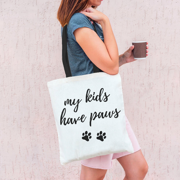My Kids Have Paws Tote Bag Tote Bag Woofingtons