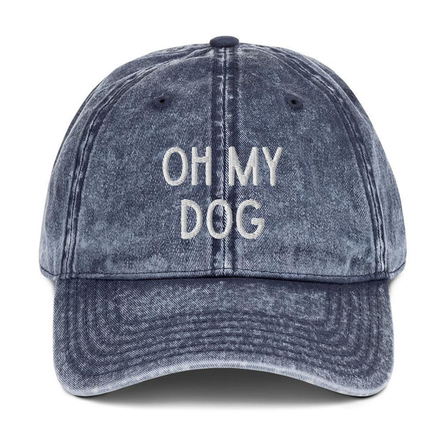 Oh My Dog Vintage Cotton Twill Cap-Apparel-Navy-Woofingtons