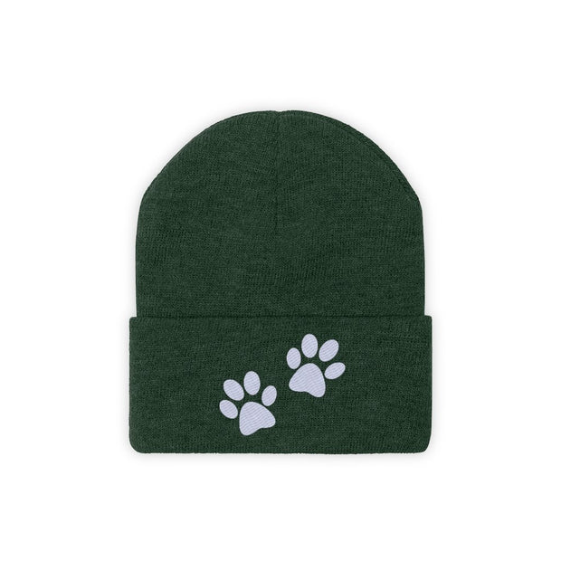 Paw Prints Knit Beanie-Apparel-Forest Green-Woofingtons