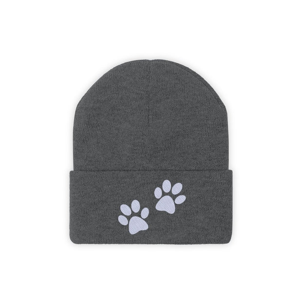 Paw Prints Knit Beanie-Apparel-Graphite Heather-Woofingtons